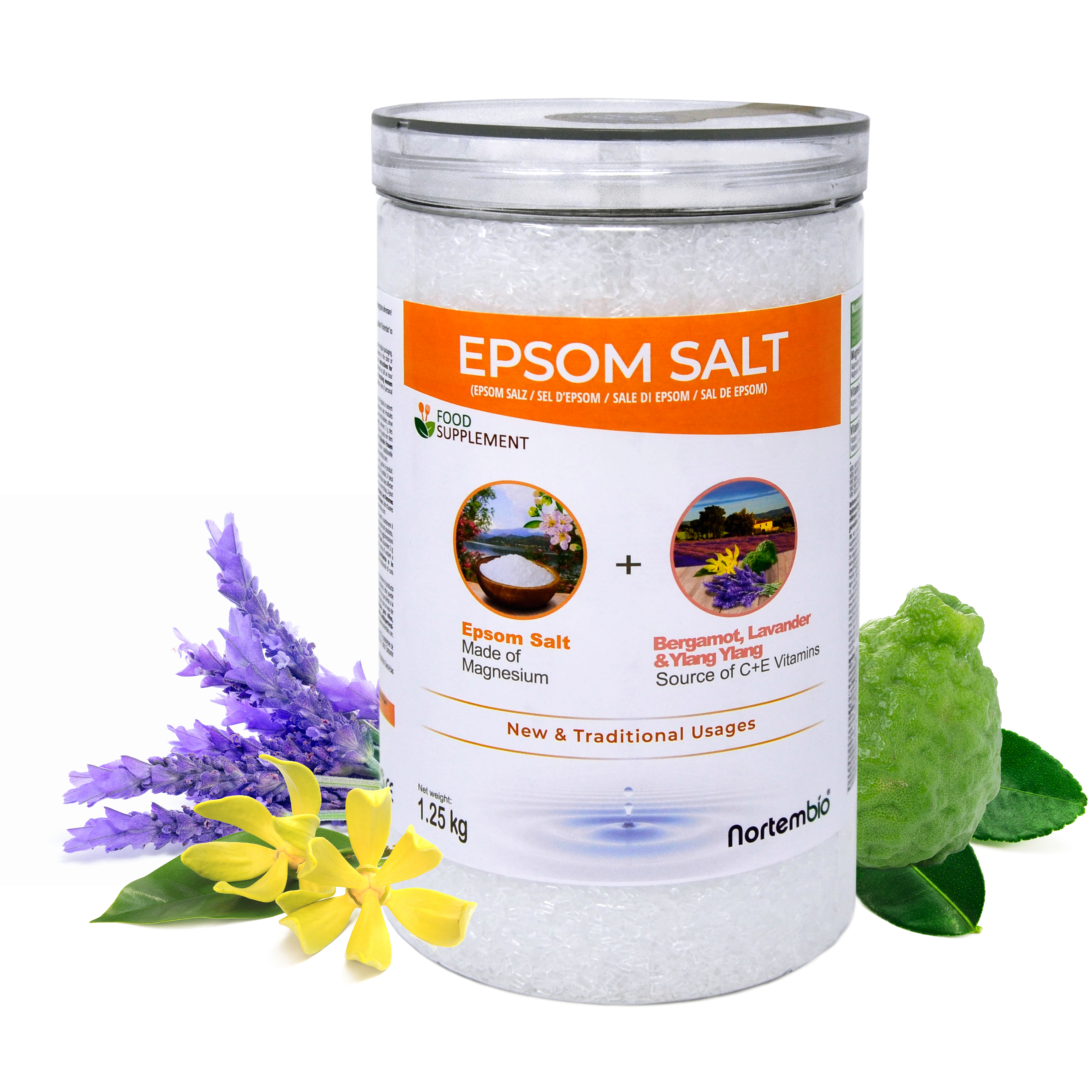 Sales de Epsom alimentarias bergamota, ylang ylang y lavanda